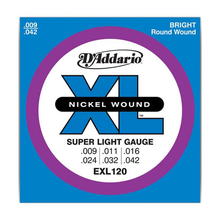 D'Addario, EXL120, 9-42, Nickel, Wound, Super, Light, Electric, Guitar, Strings