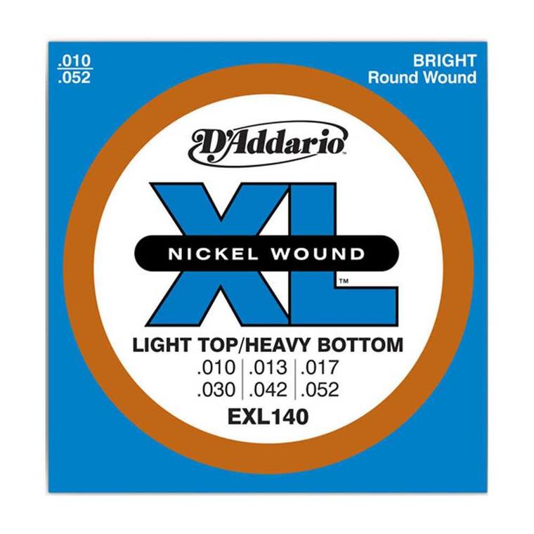 D'Addario, EXL140, 10-52, Nickel, Wound, Light, Top/Heavy, Bottom, Electric, Guitar, Strings