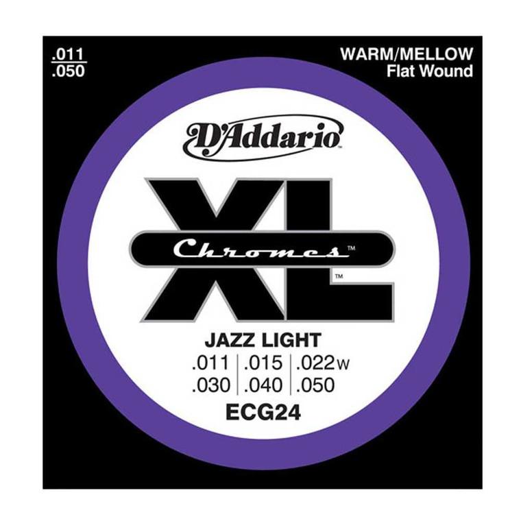 D'Addario, ECG24, 11-50, Chromes, Flat, Wound, Jazz, Light, Electric, Guitar, Strings