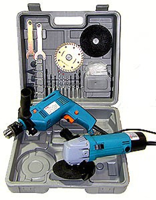 2 Pc Electric Tool Kit - Hammer Drill \ Grinder