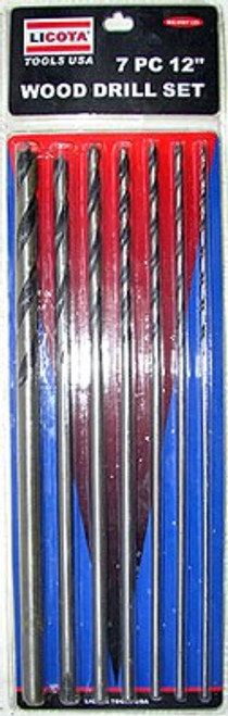 7 Pc 12 inch Wood Drill Bit Set