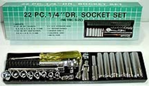 22 Pc 1/4 inch Drive Socket Set - Metric