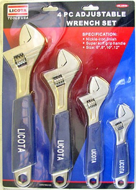 4 Pc Adjustable Wrench Set - Soft Grip