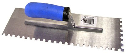 14 x 4-1/2 Inch Notched Trowel w/ Rubber Handle