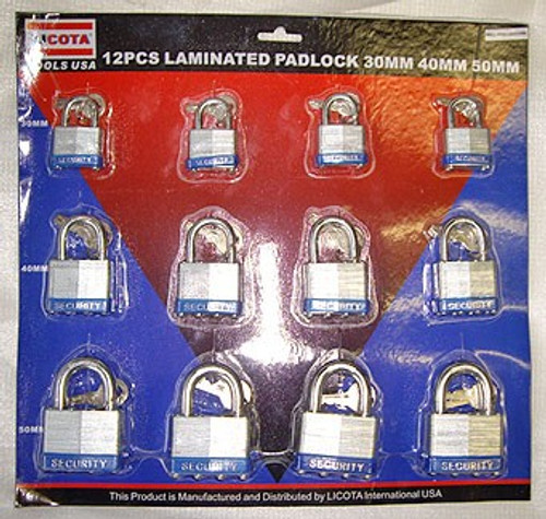 12 Ct 30, 40 & 50 mm Laminated Padlocks