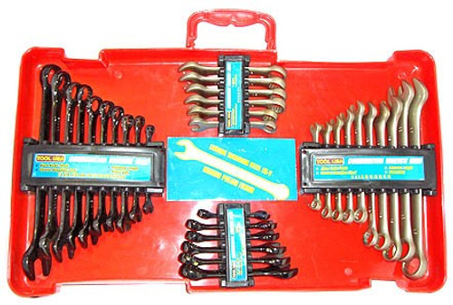 32 Pc Combination Wrench Set w/ Gold Satin & Black Antique Finish
