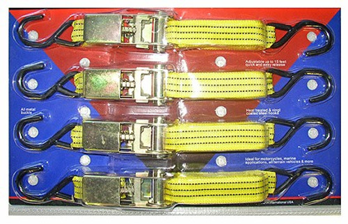 4 Pc Heavy Duty Ratchet Tie Down Set