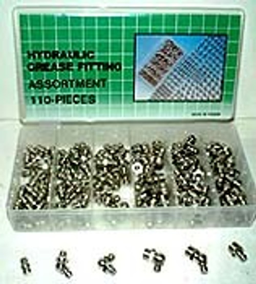 110 Pc Hydraulic Grease / Zerk Fitting Assortment