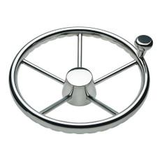 Schmitt 170 13.5 Stainless 5-Spoke Destroyer Wheel w/ Stainless Cap and FingerGrip Rim - Fits 3/4 Tapered Shaft Helm
