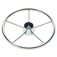 Schmitt 170 13.5 Stainless 5-Spoke Destroyer Wheel w/ Black Cap and Standard Rim - Fits 3/4 Tapered Shaft Helm