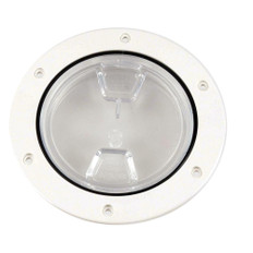 Beckson 4 Clear Center Screw-Out Deck Plate - White