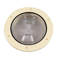 Beckson 4 Clear Center Screw-Out Deck Plate - Beige