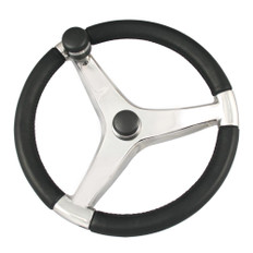 Ongaro Evo Pro 316 Cast Stainless Steel Steering Wheel w/Control Knob - 15.5 Diameter