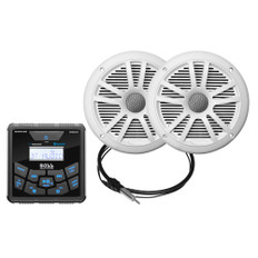 Boss Audio MCKGB450W.6 Marine Package - Bluetooth(Audio Streaming) In-Dash Marine Gauge Digital Media AM/FM Receiver w/6.5 Speakers - White