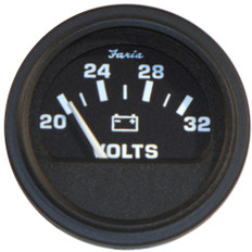 Faria 2 Heavy-Duty Voltmeter (14-32 VDC) - Black *Bulk Case of 24*