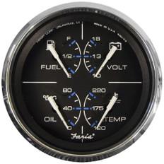 "Faria Chesapeake Black w/SS Bezel 4"" Multifunction [Fuel Level   Oil PSI (100 PSI)   Water Temp (120-250 F)   Voltmeter (10-16 VDC)] - Black"