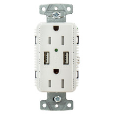 Hubbell Usb15a5w White Outlet Dual 15 Amp 125v 2-pole And Dual 5 Amp 5v Usb Ports