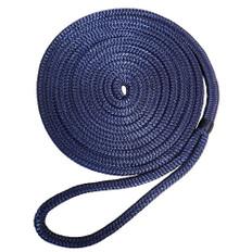 """Robline 3/8"""" x 25' Premium Nylon Double Braid Navy Blue Dock Line"""