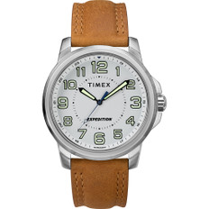Timex Men's Expedition Metal Field Watch - White Dial/Brown Strap