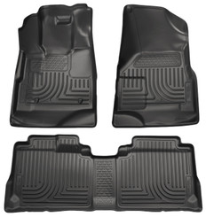 10 CADILLAC SRX WEATHERBEATERS FRONT/SECOND LINERS 2010 CADILLAC SRX WEATHERBEATERS CUSTOM MOLDED FRONT & SECOND SEAT (1 PIECE) FLOOR LINERS - BLACK