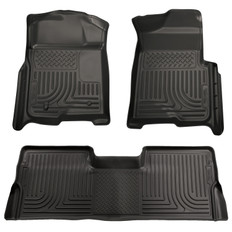 08-10 FORD SD SUPER CAB FRONT/2ND WEATHERBEATER 2008-10 FORD SUPER DUTY SUPER CAB TRUCK W/O MANUAL 4X4 TRANSFER CASE SHIFTER CUSTOM MOLDED WEATHERBEATER FRONT & SECOND SEAT FLOOR LINERS - BLACK