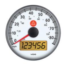 "VDO Viewline 3-3/8"" (85mm) 85 MPH/140 KMH Electronic Speedometer 12/24V w/o Bezel - Ivory"