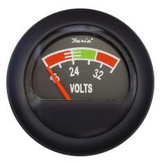"Faria 2"" Voltmeter (16-36V) - Black Bezel w/Orange Pointer"