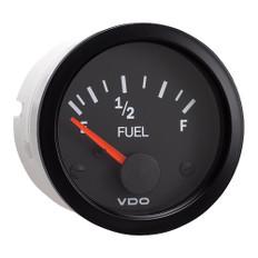 """VDO 2-1/16"""" (52mm) Vision Fuel Gauge (E-1/2-F) Black Dial & Bezel"""