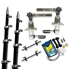 TACO Grand Slam 280 Package w/15' Black/Silver Poles Premium Rigging Kit & Line Caddy