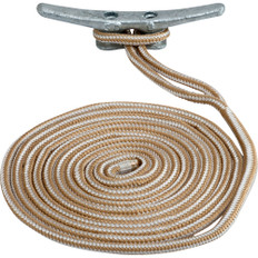 "Sea-Dog Double Braided Nylon Dock Line - 3/4"" x 25' - Gold/White"