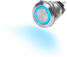Blue Sea 4160 10a Push Button Led Ring Switch Off-on Blue