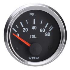 """VDO Vision 52mm (2-1/16"""") Oil Pressure Gauge - 80 PSI - VDO Sender"""