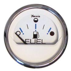 "Faria Chesapeake White SS 2"" Fuel Level Gauge - Metric (E-1/2-F)"