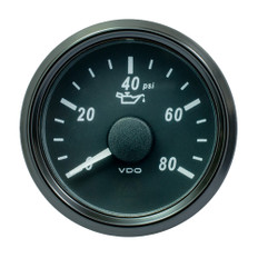 VDO SingleViu Oil Pressure Gauge w/Harness - 80 PSI