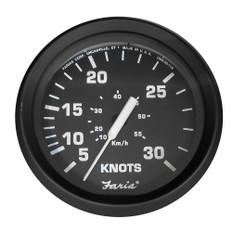 "Faria Euro Black 4"" 30 Knot Speedometer f/Mechanical Pitot Tube"