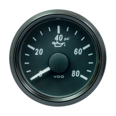 "VDO SingleViu 52mm (2-1/16"") Oil Pressure Gauge - 80 PSI - 240-33 Ohm"