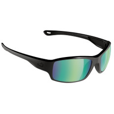 H2Optix Beachwalker Sunglasses Matt Black, Brown Green Flash Mirror Lens Cat. 3 - AR Coating