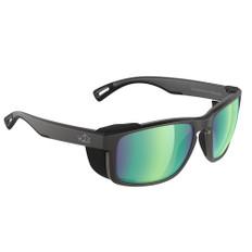 H2Optix Reef Sunglasses Matt Black, Brown Green Flash Mirror Lens Cat. 3 - AntiSalt Coating w/Floatable Cord