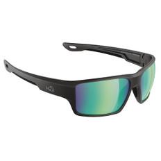 H2Optix Ashore Sunglasses Matt Black, Brown Green Flash Mirror Lens Cat. 3 - AntiSalt Coating w/Floatable Cord