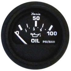 """Faria 2"""" Heavy Duty Oil Pressure Gauge - 100 PSI - Black Dial & SS Bezel"""