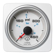 "Veratron 52 MM (2-1/16"") AcquaLink Transmission Oil Pressure 450 PSI/30 Bar - White Dial & Bezel"