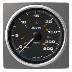 """Veratron 4-3/8"""" (110mm) AcquaLink Depth Gauge 660'/200M - 12/24V - Black Dial & Bezel"""