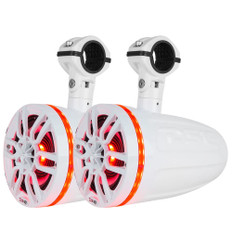 """DS18 X Series HYDRO 8"""" 2-Way Wakeboard Pod Tower Speakers w/1"""" Compression Driver & RGB LED Lights - 550W - White"""