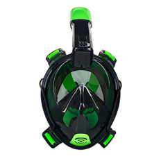 "Aqua Leisure Frontier Full-Face Snorkeling Mask - Adult Sizing - Eye to Chin > 4.5"" - Green/Black"
