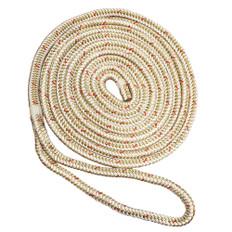 "New England Ropes 5/8"" x 50' Nylon Double Braid Dock Line - White/Gold w/Tracer"