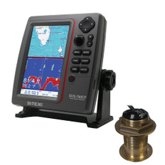 SI-TEX SVS-760CF Dual Frequency Chartplotter/Sounder w/ Navionics+ Flexible Coverage & Bronze 12 Degree Transducer