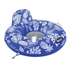 Aqua Leisure Supreme Lake Tube Hibiscus Pineapple Royal Blue w/Docking Attachment
