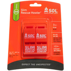 S.O.L. Survive Outdoors Longer Rescue Howler Whistle - 2 Pack