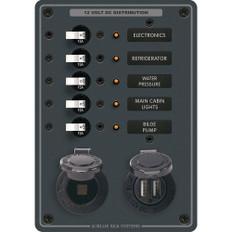 Blue Sea 8120 Breaker Panel 5 Position w/DC Socket & Dual USB