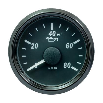 "VDO SingleViu 52mm (2-1/16"") Oil Pressure Gauge - 80 PSI - 240-33 Ohm"
